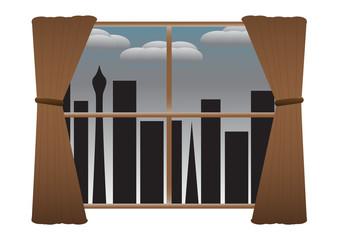 CityScape No Lights Curtains Rainclouds