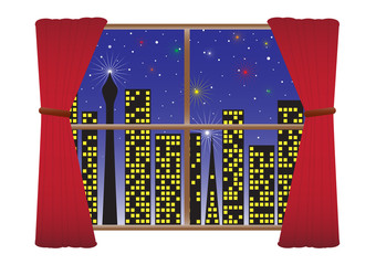 CityScape Night W-Lights Curtains(detail) Stars & Fireworks