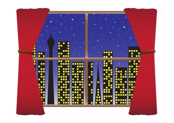 CityScape Night Lights Curtain(detail) Many Stars