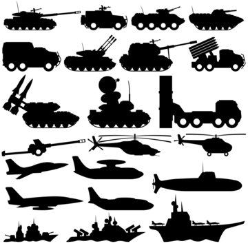 Vector signs. Military equipment.