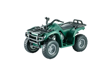 Green ATV toy isolated on white.
