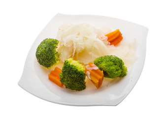 Boiled cabbage and broccoli