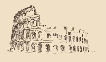 Colosseum in Rome, Italy vintage engraved illustration