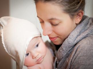 Woman loving her baby boy