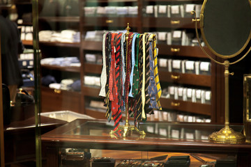 Ties for sale in a clothing store