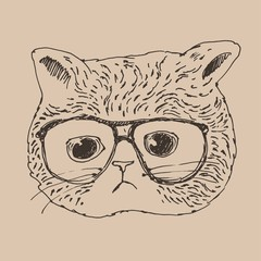 cute in glasses, hipster style, engraved illustration