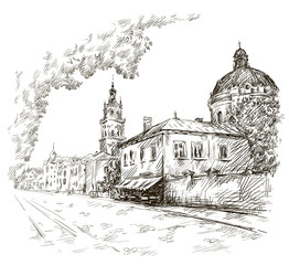 Sketch of a street. Old city. City centre.  Vector