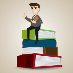 cartoon businessman reading book on stack of book
