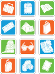 Travel Icons - Suitcase, Map, Ticket