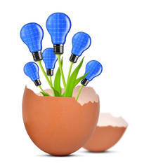 Light bulbs growing out of the egg