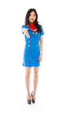 Asian air stewardess giving hand for handshake isolated on white