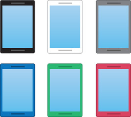 Cell phones in various colors