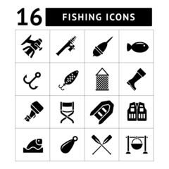 Set icons of fishing
