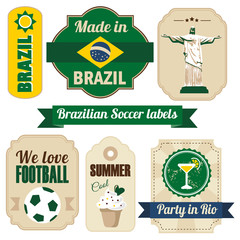 Retro set of various Brazilian labels and tags, vector