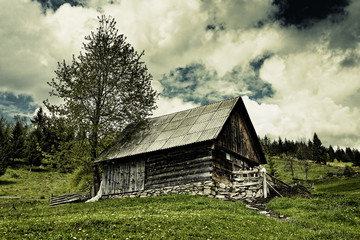Old barn and moody sky