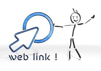 stick man presents web link sign