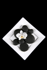 step stones decoration with orchid on white plate