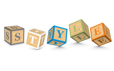 Word STYLE written with alphabet blocks