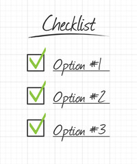 Checklist on ruled school paper grid with hand drawn syle