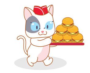 cute cartoon cat carrying a hamburger