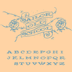 Old-school styled tattoo alphabet set
