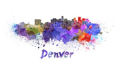 Wall Mural - Denver skyline in watercolor