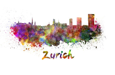 Wall Mural - Zurich skyline in watercolor