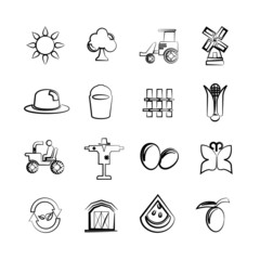 sketch agriculture icons