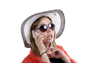 young woman with a hat and sunglasses phone