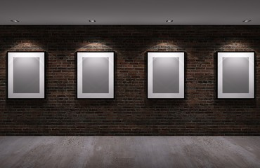 picture frame on the old brick wall with concrete floor at night