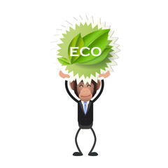 Business monkey holding an ecological icon over white background