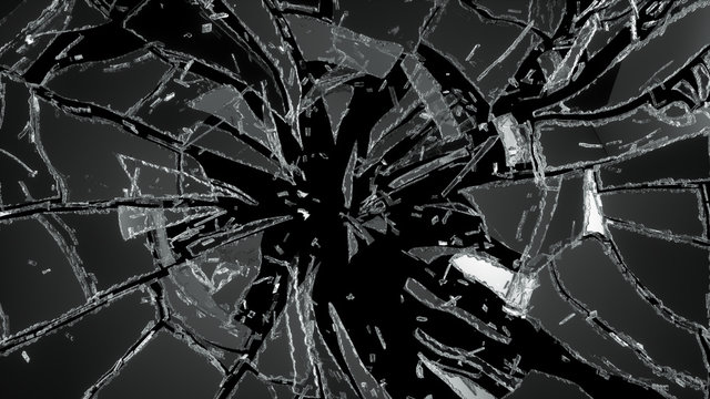 Pieces of destructed Shattered glass