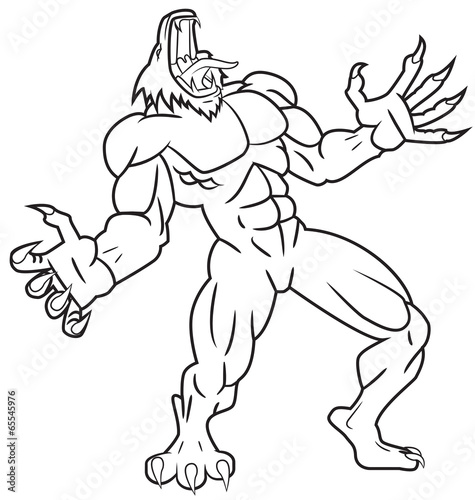 """""""werewolf line drawing"""" stock image and royaltyfree"""