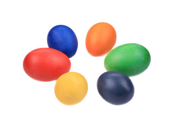 Six colorful easter eggs.