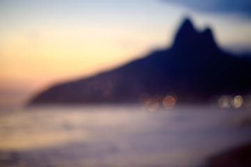 Defocus Rio de Janeiro Brazil Sunset Silhouette Two Brothers