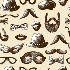 Hand Drawn Hipster Seamless Background