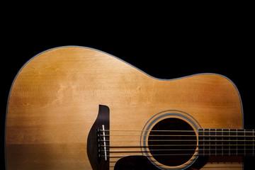acoustic guitar detail on black background