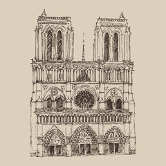 Cathedral of Notre Dame de Paris engraved illustration