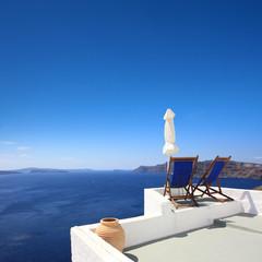 Fototapete - Grèce / Santorin - Terrasse