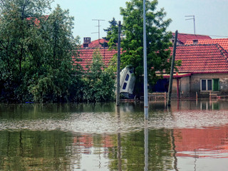 OBRENOVAC, SERBIA - MAY 24: Flood House, boat in Obrenovac