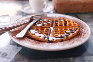 waffle with chocolate
