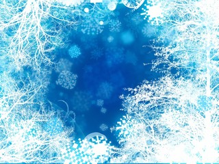 abstract snow tress snowflake background