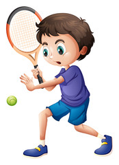 A young boy playing tennis