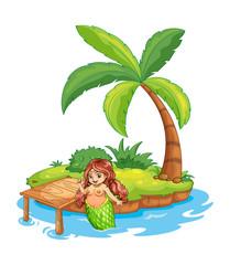 A fat mermaid at the beach