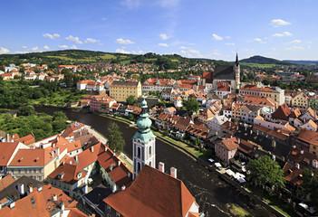 Beautiful landscape historical center of Cesky Krumlov.