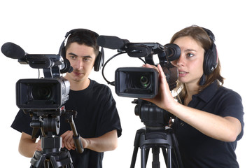 young man and young woman with video cameras