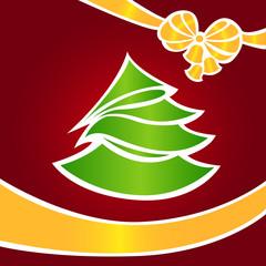 Christmas card with a green fir-tree 2