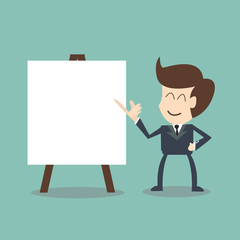 businessman with flip chart