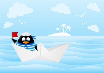 Cute penguin sailor in paper boat