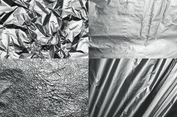 Set of four metal foil textures